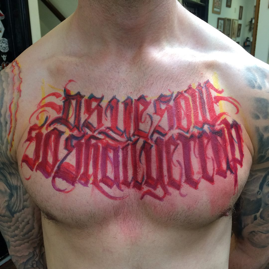 lettering tattoo sketch on chest-goorazz